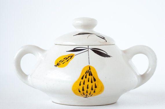 Vintage Mancioli Italy Sugar Bowl / French Cottage Kitchen / Shabby Chic 1960s, Illustration sugar bowl, mid century modern, Made in italy