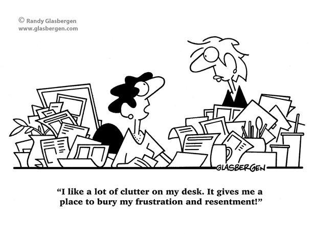 Clutter Cartoons: disorganized, desk clutter, cleaning
