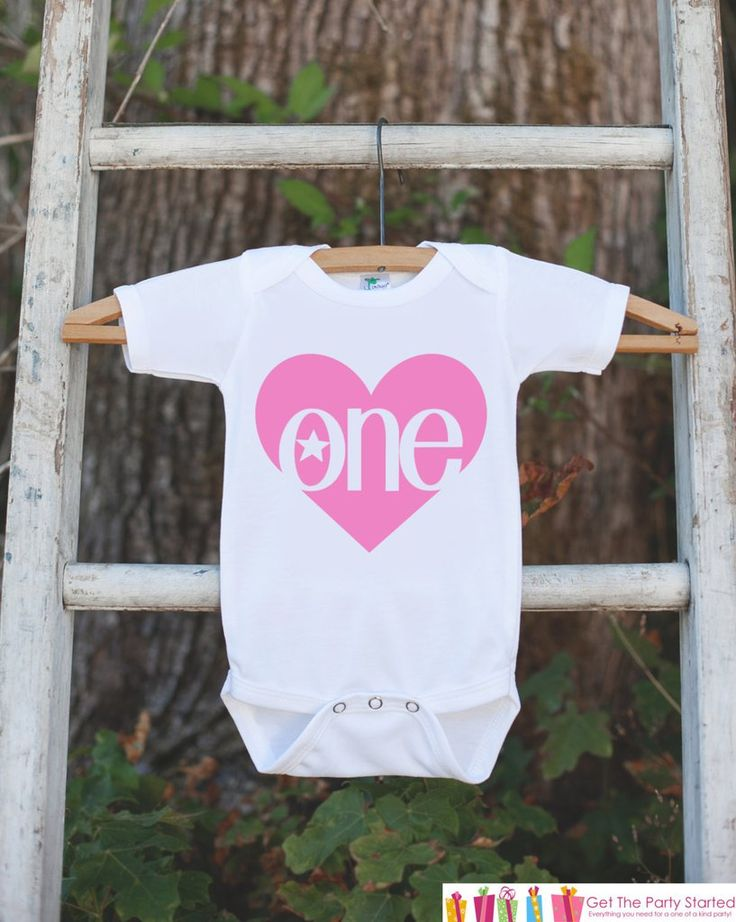 Girl First Birthday Outfit - One 1st Birthday Onepiece For Girl's 1st Birthday Party - Girls Birthday Shirt - Pink Heart Apparel Clothing