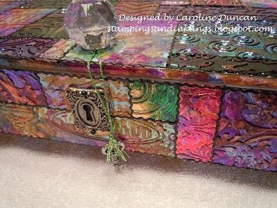 Altered Wooden Cigar Box designed by Caroline Duncan ~ stampingsandinklings.blogspot.com Elizabeth Craft Designs Shimmer Sheetz