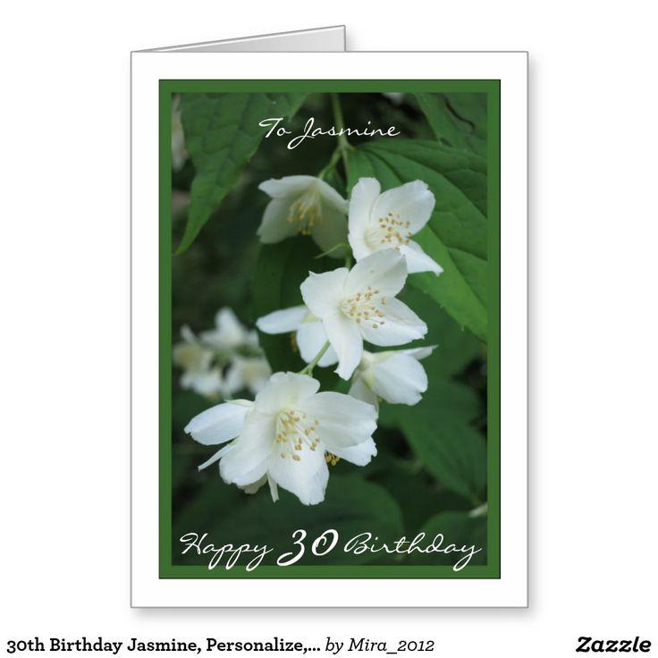 30th Birthday Jasmine, Personalize, Jasmine Flower Greeting Card
