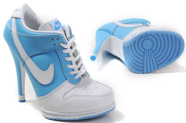 timeless design c0c78 d3847 Womens Light Blue and White Nike High Heels Dunk SB Low   Nike High Heels   Nike  high heels, Nike shoes, Nike dunks