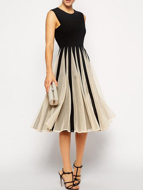 Just ordered this beautiful Color-block Sleeveless With Mesh Pleated Dress!!! #fall2015
