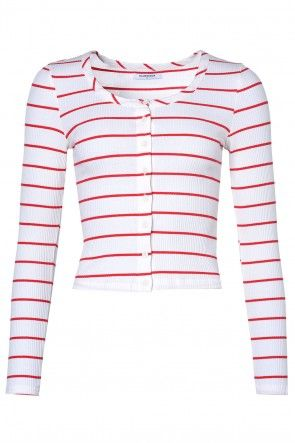 Jessie Ribbed Top in Cream and Red