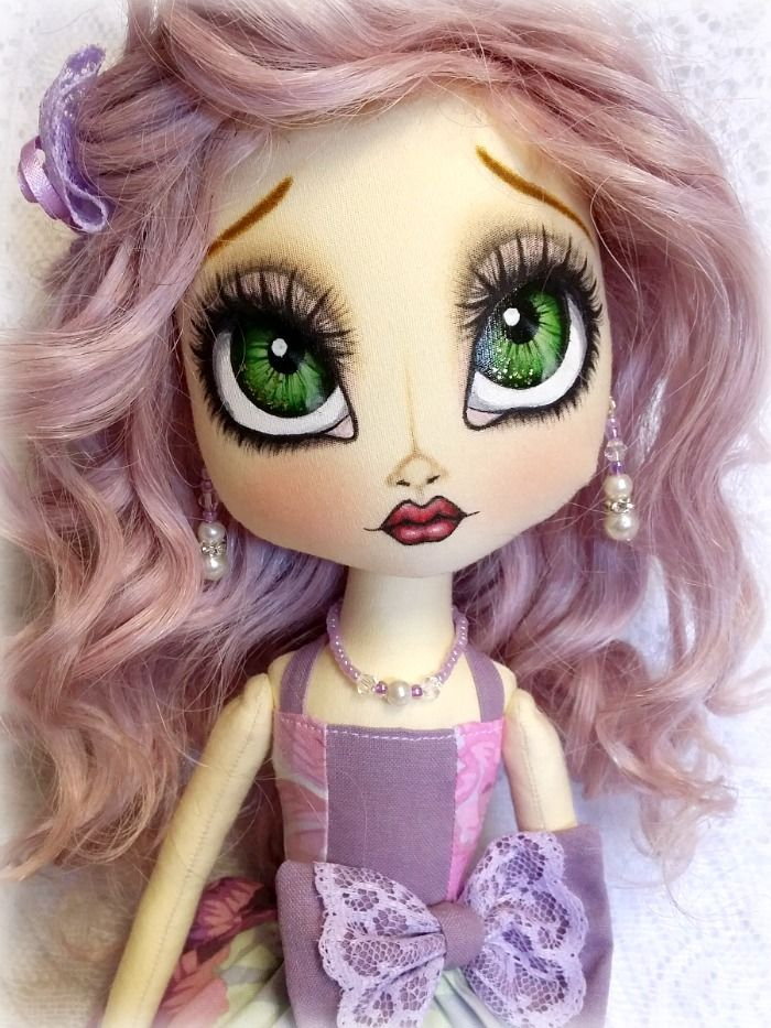 Handmade Livvy Snow doll ~ Isold ~ www.facebook.com/1LivvySnow Cloth doll in lilac dress and hair.