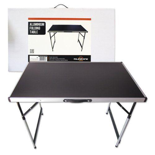 Milestone Camping Aluminium Folding Table - Black