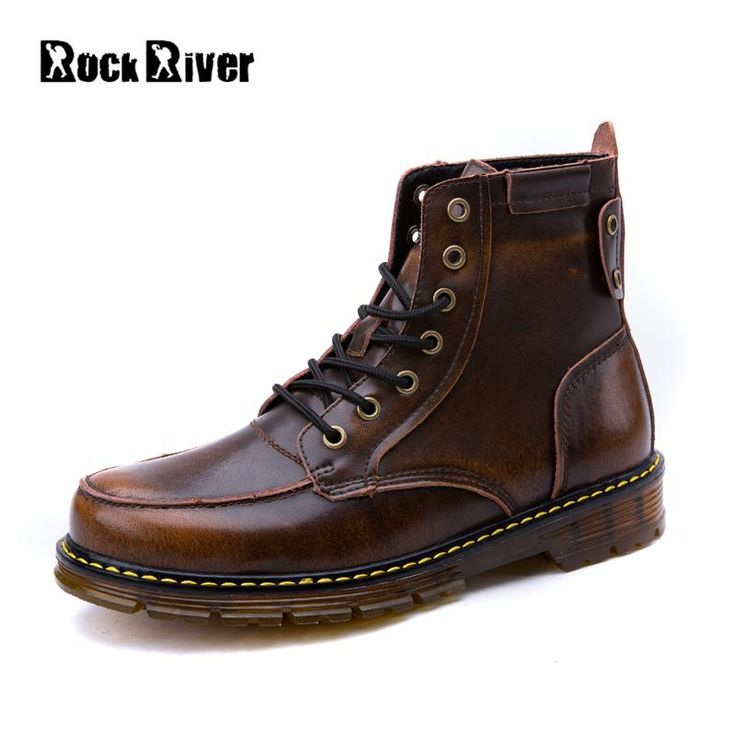 Rock River Genuine Leather Motorcycle Boots Men Black Brown Dr Martin Shoes Men Leather Boots Men Winter Boots High Quality #Affiliate
