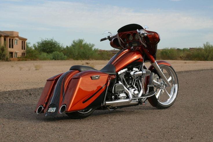 Copper Custom Bagger definitely made for road trips