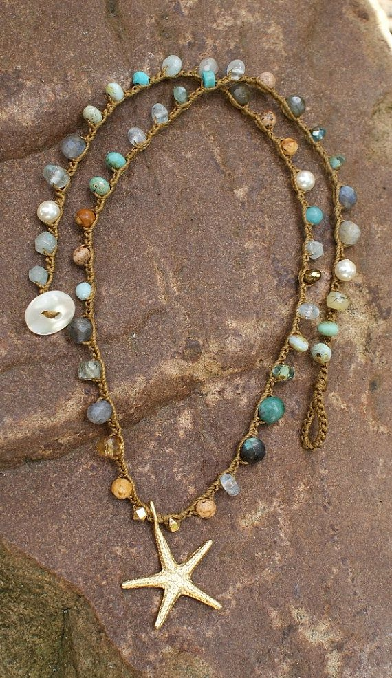 Stelle marine uncinetto collana boho beach di Mollymoojewels