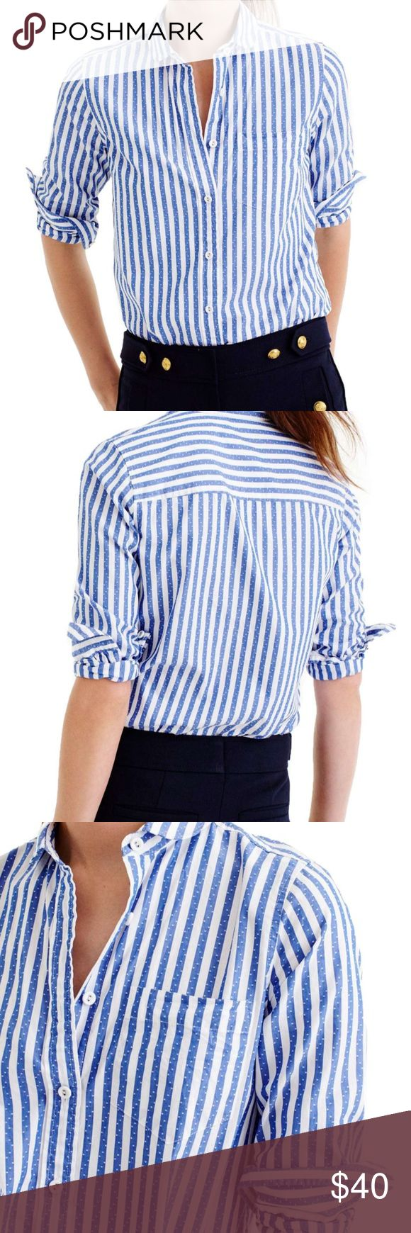 J Crew Striped Club collar Shirt! NWT J Crew Club Collar Boy fit button down! New With tags!  Jacquard stripe blue and white with dots! Size 4. 25.5 inches long. Bust 18.5 measuring across the front! J. Crew Tops Button Down Shirts