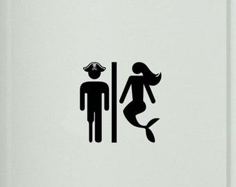 Pirate and Mermaid Toilet Sign Bathroom Sign Toilet Sign Door Sticker Door Decal Toilet Decal