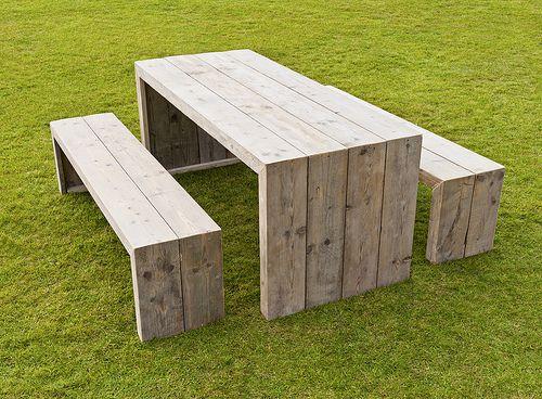 Tuinset / picknickset van steigerhout