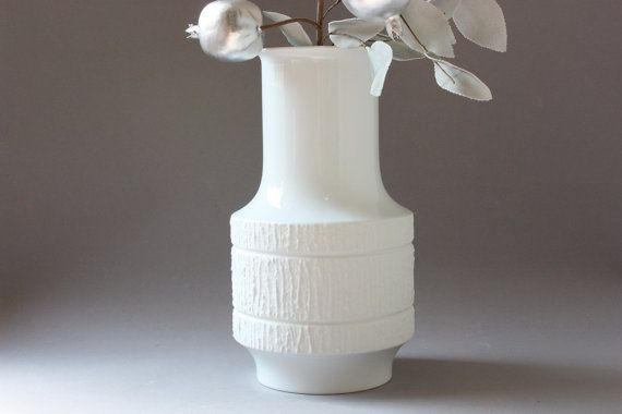 "Large vase Thomas white bisque porcelain Germany, Op-Art, ""Arcta"" Richard Scharrer 60s 70s, gift wife women her girlfriend wedding by wohnraumformer"