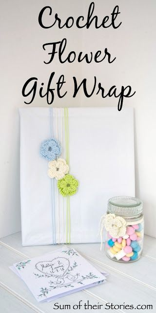 Crochet flowers for gift wrapping