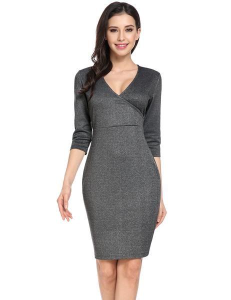 Dark gray Cross V Neck 3/4 Sleeve Solid Back Split Work Dress