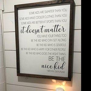 Be the nice kid, Kids room sign, wood sign sayings, back to school decor, teacher sign, kid room sign, farmhouse classroom decor, playroom