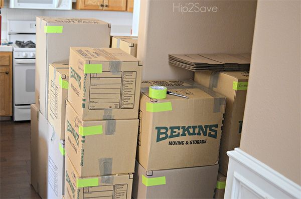 DIY Moving Tip: Conduct an organized home move with color-coded boxes for each room in your new home.