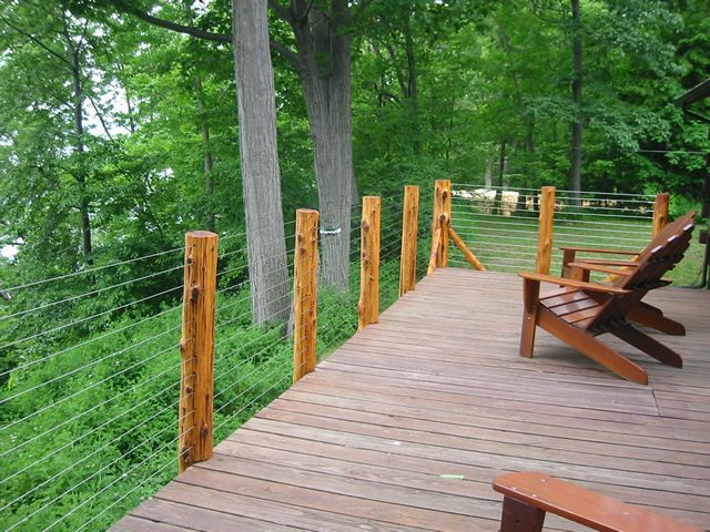 Timber Frame Tools » Rustic Wooden Deck Railing