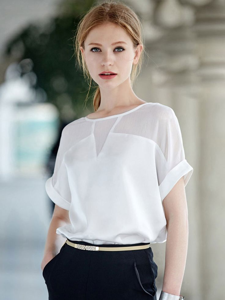 White Sheer Insert Roll-up Sleeve Chiffon Blouse | abaday