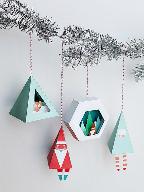 Where to Find the Best Paper Craft Kits and Printables for the Holidays. These are Printable Christmas Ornaments by Smallful. #papercraft #treeornanents