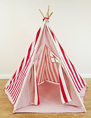 Childrens Play Tent Set - Red Stars and Chevron Design Wigwam Teepee Kids Play Area for  sc 1 st  Pinterest & 11 best Kids tents and teepees (UK) images on Pinterest | Tents ...