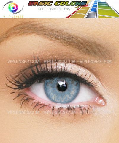 Blue Basic Colour Contact Lenses, designed to add or alter the colour of your eyes, very comfortable to wear, from www.viplenses.com    We would recommend these to customers who are not looking for a dramatic change
