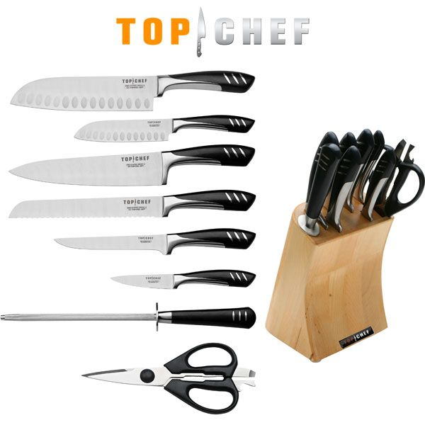 "@ShopAndThinkBig.com - We has for your culinary talents a 9 piece Top Chef full set of knives with a sleek modern wood block to put everything in one place. This set has everything you need including a 7"" SANTOKU knife, a 5"" SANTOKU knife, a 6"" FILLET knife, a 3.5"" PARING knife, an 8"" CHEF knife, an 8"" BREAD knife, a SHARPENING STICK, and SHEARS. These ice-tempered X30CR13 stainless … http://www.shopandthinkbig.com/piece-top-chef-full-knife-set-with-wood-block-top-chef-p-580.html"