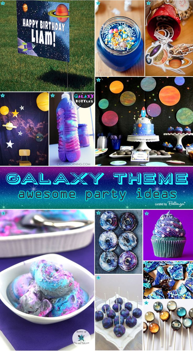 Galaxy-themed Birthday Party Ideas: Out of This World Decor, Treats and Favors! Featured on The Party Suite at Bellenza. #galaxybirthday