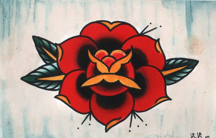 Traditional Rose Tattoo | Traditional American Rose Tattoo Framed Original By Tobetattooed