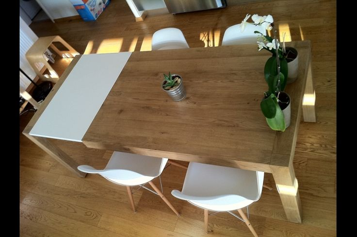 Custom made dining table, solid wood oak, greek interior design