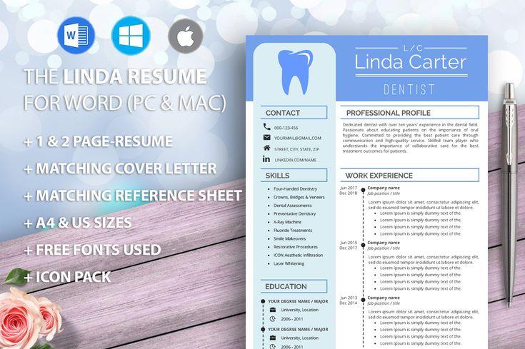 Dental Assistant Resume Template for Word, Dentist, Dental ...
