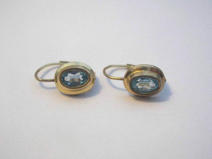 schöne K&L Ohrringe mit blauen Steinen,vergoldet