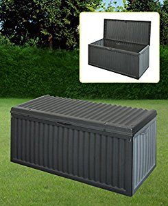 BLACK PLASTIC GARDEN STORAGE BOX LID PATIO SHED UTILITY CUSHION CHEST 747519: Amazon.co.uk: Garden & Outdoors