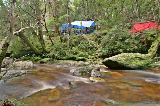 Irenabyss campsite on the Franklin River, Tasmania