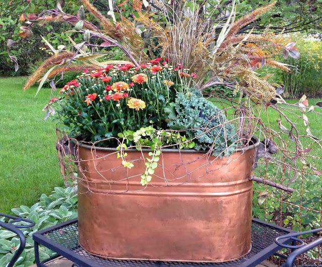 Great Fall arrangement in a found vintage copper boiler.
