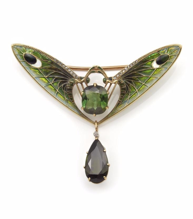 Eugène Feuillâtre | Brooch with two butterflies - 1906. Gold, enamel, turmaline.