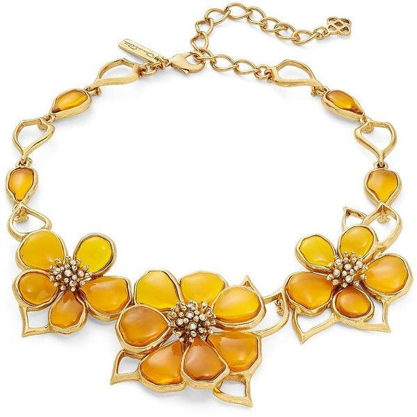 Oscar de la Renta Crystal and Cobochon Flower Collar Necklace ($600) ❤ liked on Polyvore featuring jewelry, necklaces, yellow, cabochon necklace, crystal bib statement necklace, crystal collar necklace, flower statement necklace and yellow crystal necklace