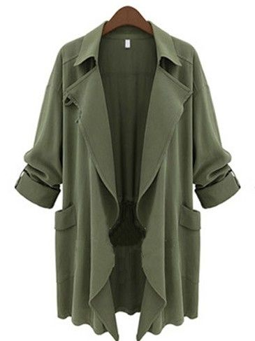 New Arrival Casual Lapel Long Sleeve   Trench-coat Trench Coats from fashionmia.com