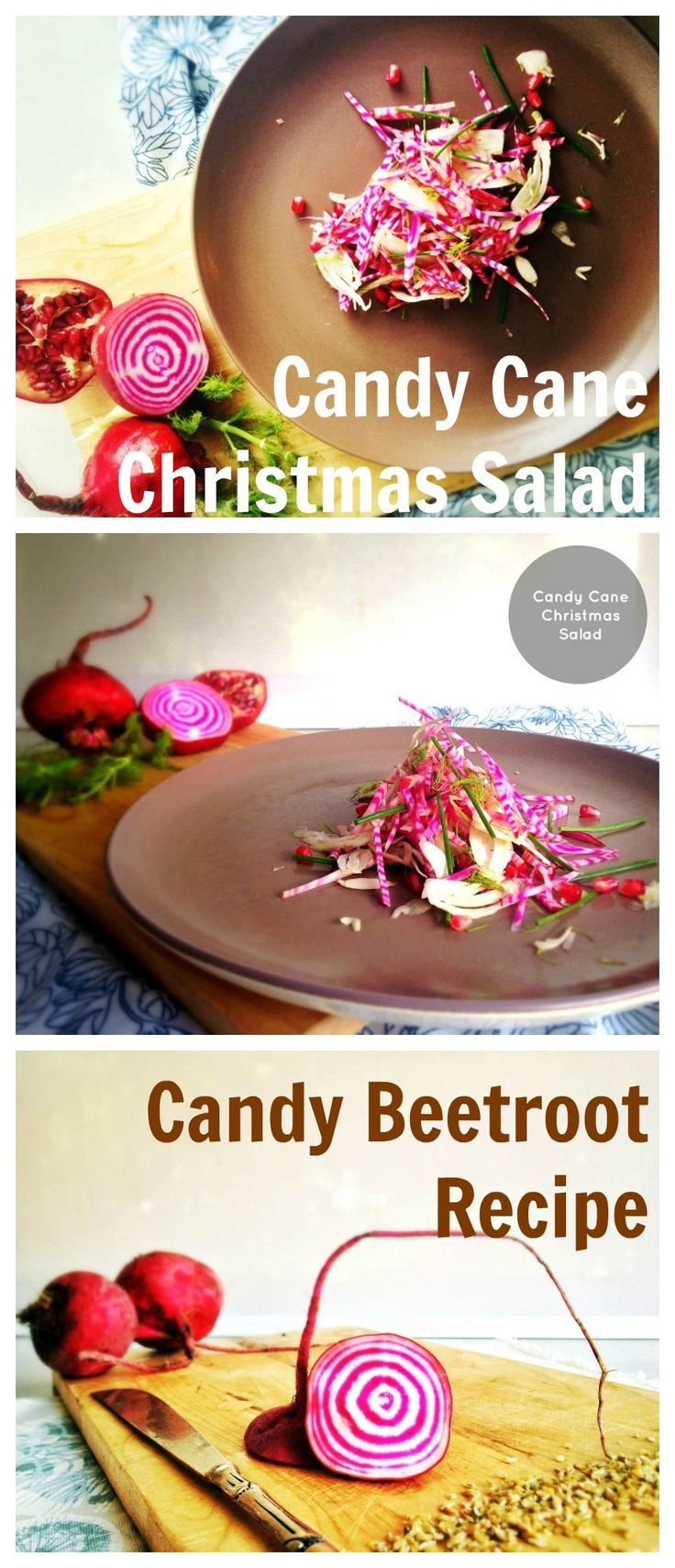 Candy beetroot salad, candy cane inspired salad, healthy christmas recipe for the holidays. Perfect salad for ham or turkey. Impress with the Unusual this year. Raw, gluten free, vegan, dairy free and delicious. Click here for recipe on Eat Raise Love http://www.eatraiselove.com/eat/candy-cane-christmas-salad/