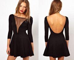 Take the Plunge - Mesh V neck peplum style sexy dress
