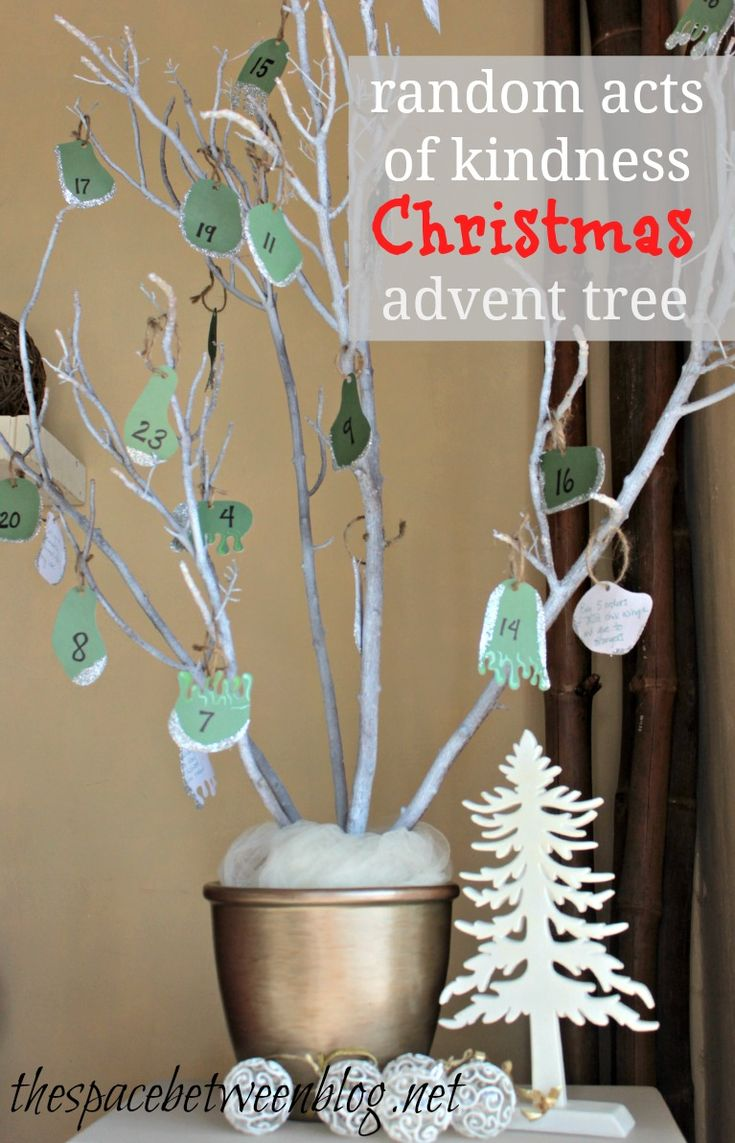 tree branch, craft paper and glitter advent tree. do 25 random acts of kindness to countdown the days until Christmas