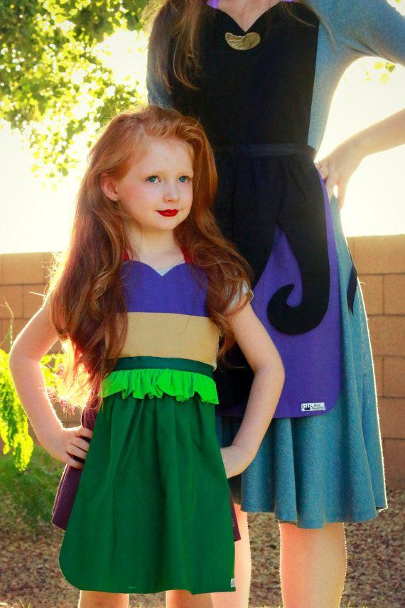 ARIEL The Little MERMAID Disney Princess inspired Child Costume APRON. Fits 12 months - Girls 12 Toddler Child Children Birthday Dress up