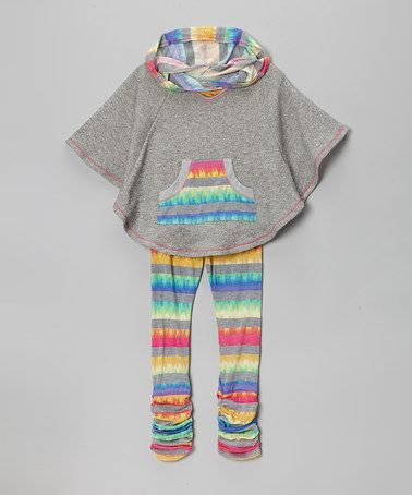 Take a look at this Heather Gray Stripe Poncho & Leggings - Toddler & Girls by Me & Ko on #zulily today!