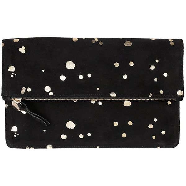 Clare V. Margot Fold-Over Printed Suede Clutch Bag ($235) ❤ liked on Polyvore featuring bags, handbags, clutches, black handbags, polka dot handbag, foldover purse, black purse and black clutches