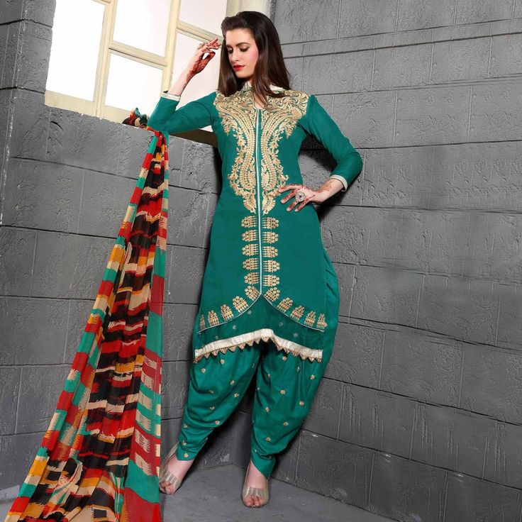 Buy Green Festive Wear Cotton Patiala Suit for womens online India, Best Prices, Reviews-Peachmode