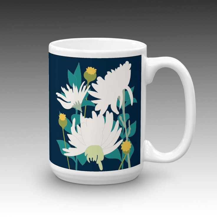 Drama on Midnight Blue Ceramic Coffee Mug SKU173-3, by marlagillimpressions on Etsy