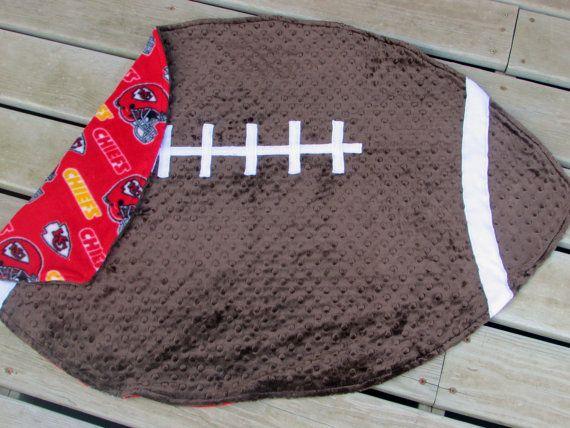 KC Chiefs Minky Football Baby Blanket by LovePitterPatter  #ChiefsBabyBlanket #SportsNurseryDecor