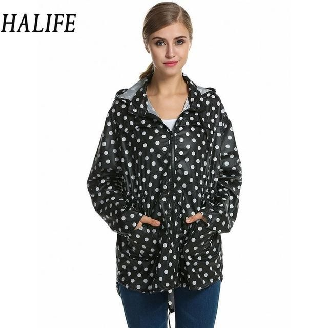 HALIFE Autumn Jacket Women Waterproof Dot Raincoat Windbreaker Fishtail Hooded Plus Size Jackets Rain Coat Chaqueta Mujer 820