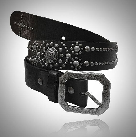 handmade leather stud belts for biker rocker trucker