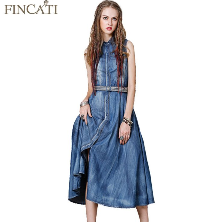 2017 Summer Women Boho Vintage Cotton Denim Turn-Down Lace Collar Sleeveless Single Breasted Embroidery Sashes Long Jumper Dress